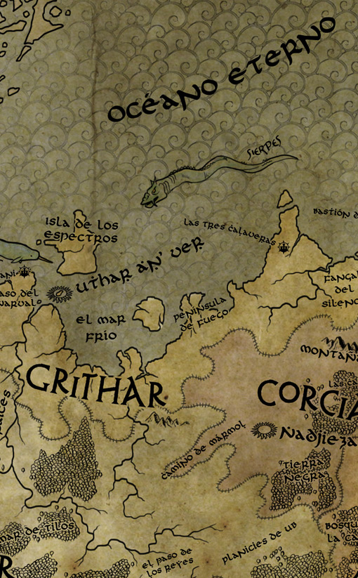 "Detalle del mapa. ""Títeres de Sangre"" de Alberto Moran Roa. Editorial Kelonia."