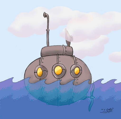 Ilustración infantil submarino | Pablo Uría Ilustrador