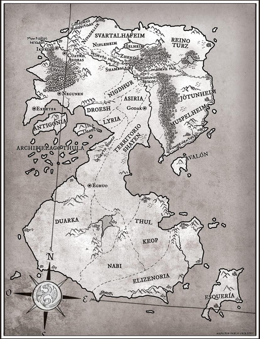 Ilustración de mapa para novela | Pablo Uría Ilustrador