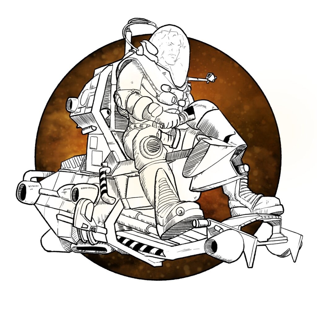 Ilustración para el podcast de TITAN A.E. de Luces en el Horizonte | pablo Uría Ilustrador