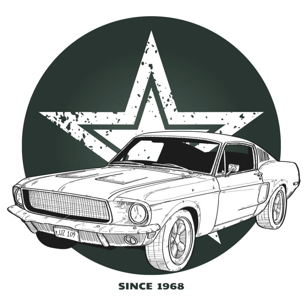 Ilustración del Ford Mustang de Bullitt de 1968 Un thriller policial dirigido por Peter Yates, con Steve McQueen en el papel principal.