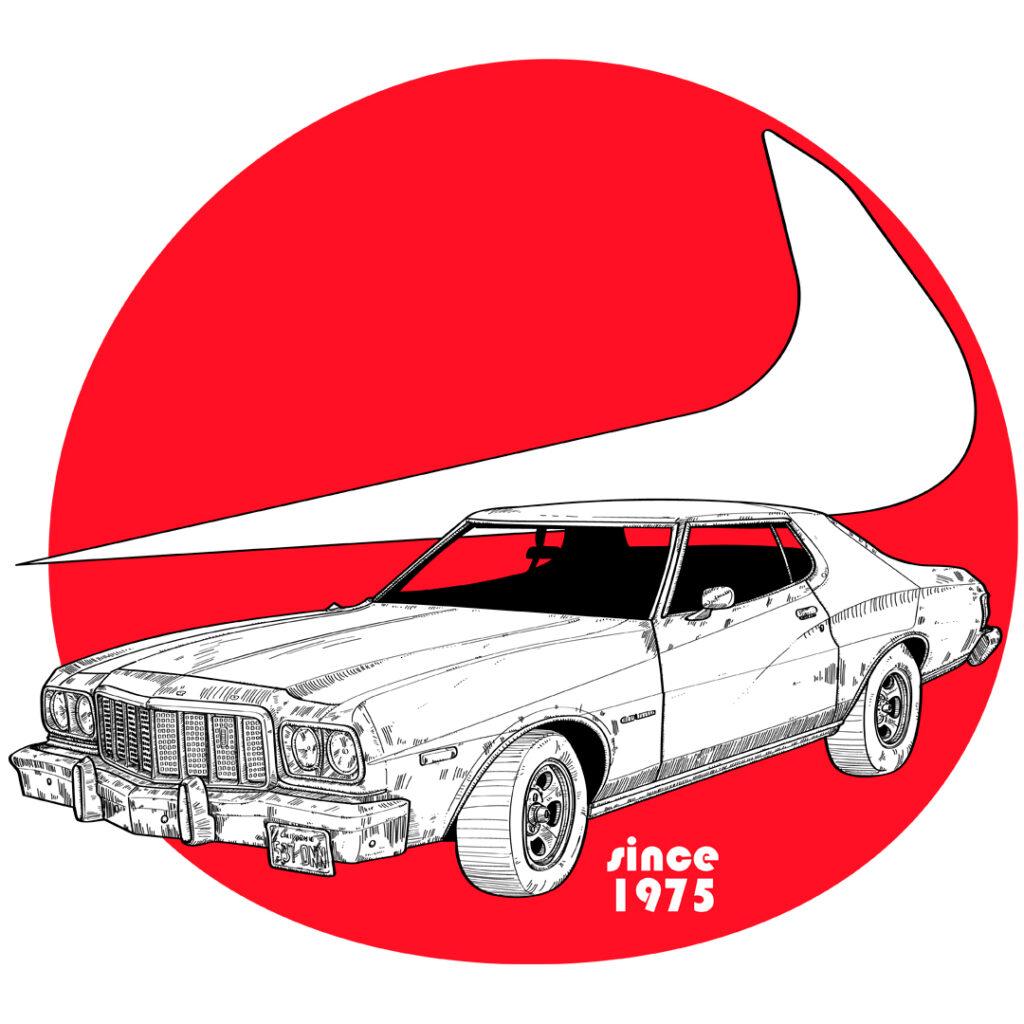Ilustración del Ford Gran Torino de Starky y Hutch (1975)