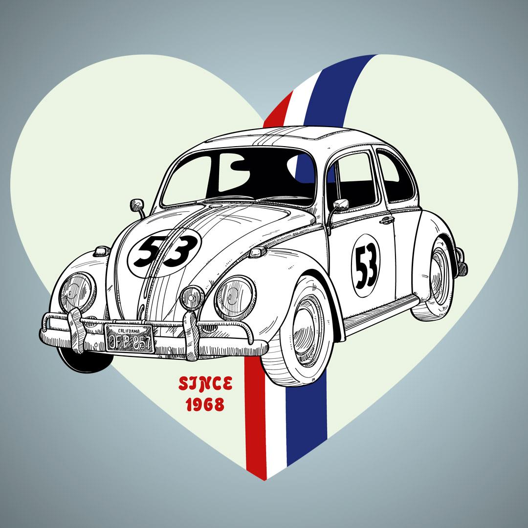 Volkswagen-Beetle-Herbie-PabloUria-Ilustrador