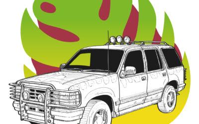 Ilustración del Ford Explorer de Parque Jurasico (1993)
