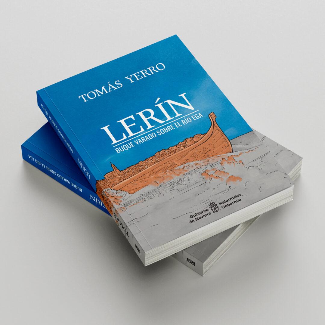 Ilustración de cubierta de libro: Lerín. Buque varado sobre el río Ega, de Tomás Yerro (Premio Principe de Viana de la cultura 2019)