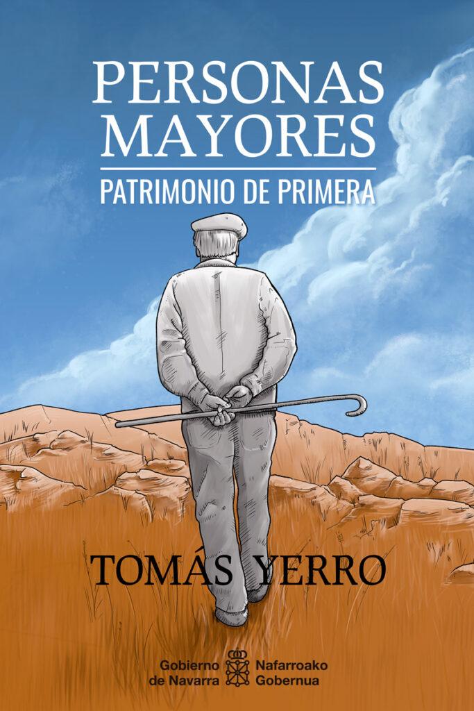 Ilustración de cubierta de libro: Personas mayores, Patrimonio de primera.