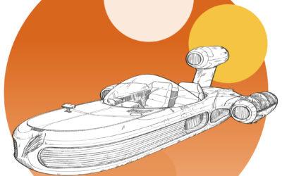 Ilustración del Deslizador Terrestre X-34 (1977)
