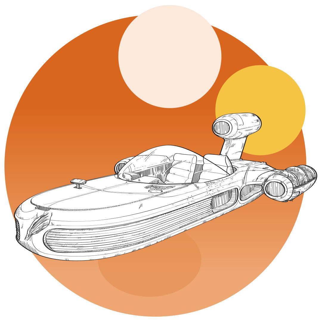 Ilustración del Deslizador Terrestre X-34