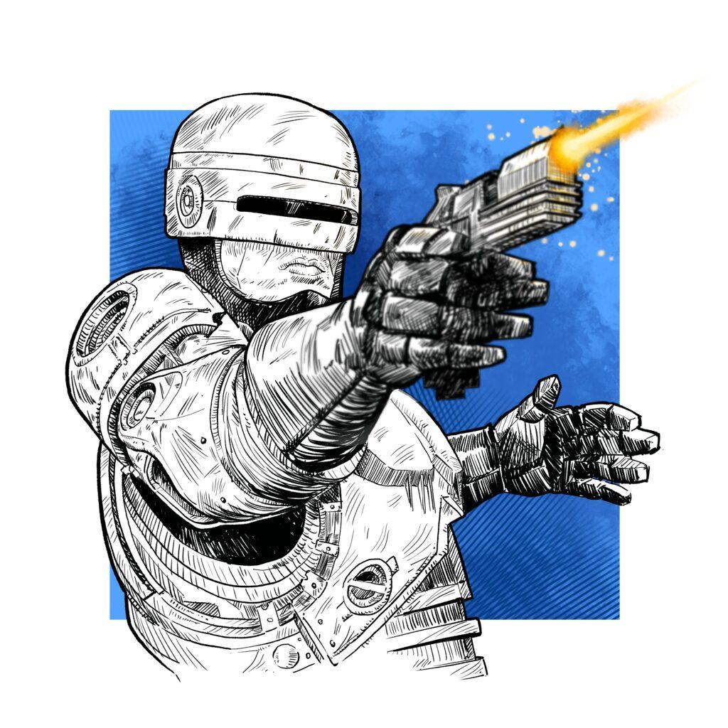 Ilustracion de Robocop de Luces en el Horizonte | Pablo Uria Ilustrador