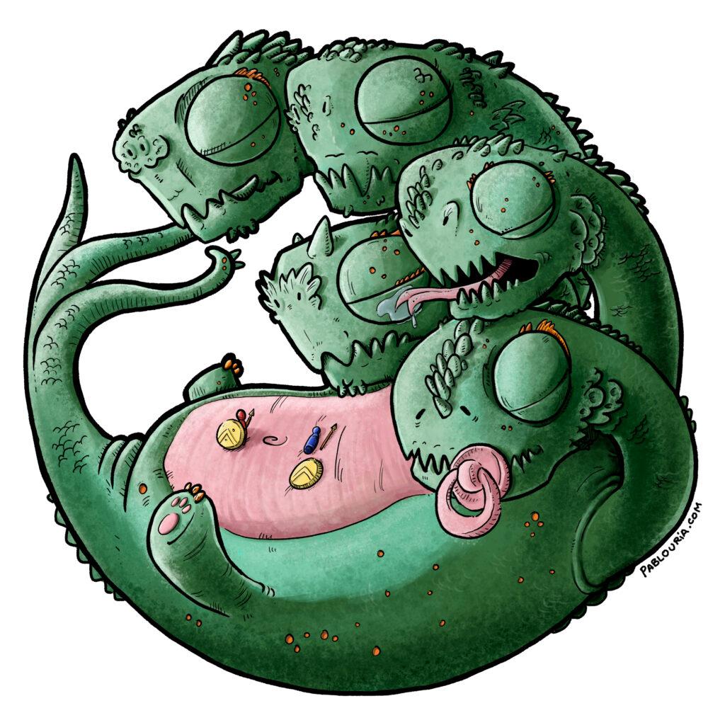 Ilustración infantil de una pequeña Hidra