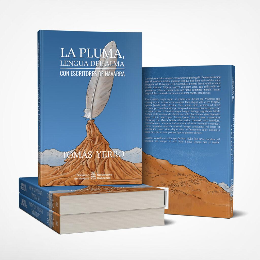 Ilustración de cubierta de libro: La pluma, lengua del alma - Tomás Yerro - Pablo Uria Ilustrador